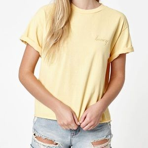 Brandy Melville Yellow Honey Embroidery Tee Shirt